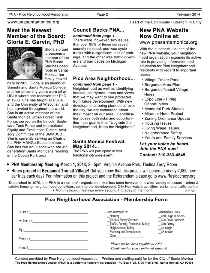 PNA newsletter x  Back page